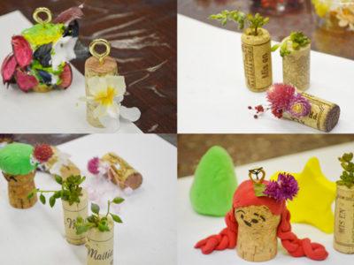 7月の美会は、ワインコルクを使っての小物作りです。
